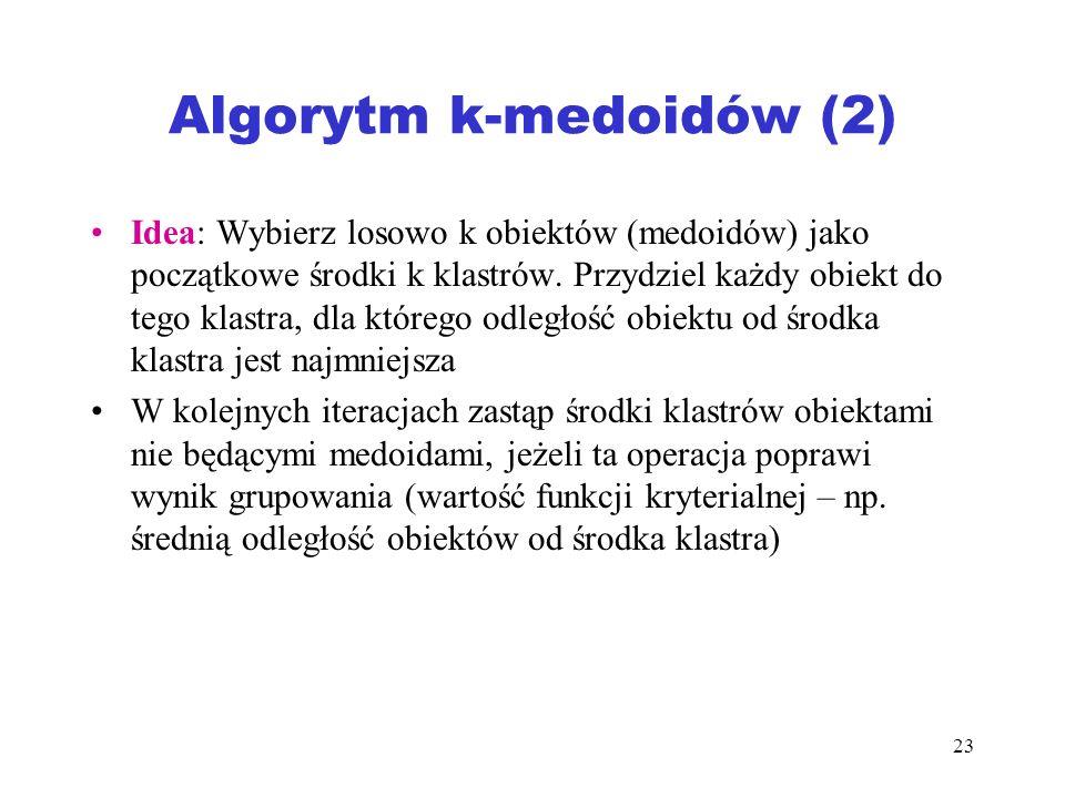 23 Algorytm k-medoidów (2) Idea: Wybierz losowo k obiektów (medoidów) jako początkowe środki k klastrów. Przydziel każdy obiekt do tego klastra, dla k