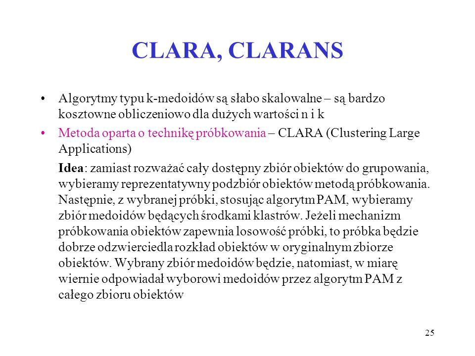 25 CLARA, CLARANS Algorytmy typu k-medoidów są słabo skalowalne – są bardzo kosztowne obliczeniowo dla dużych wartości n i k Metoda oparta o technikę