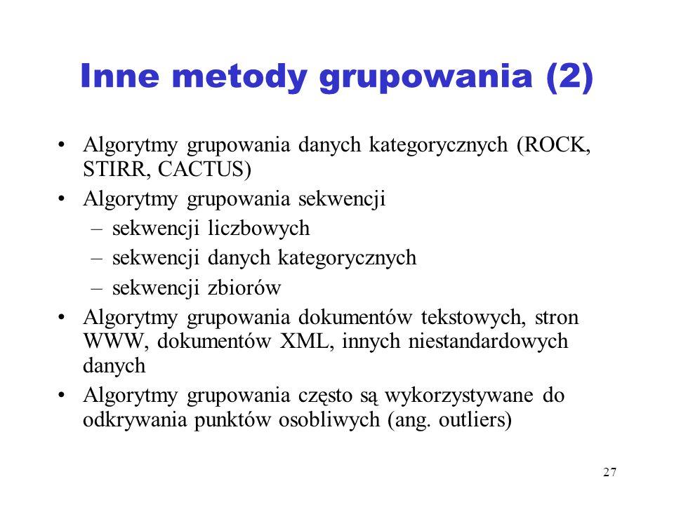27 Inne metody grupowania (2) Algorytmy grupowania danych kategorycznych (ROCK, STIRR, CACTUS) Algorytmy grupowania sekwencji –sekwencji liczbowych –s