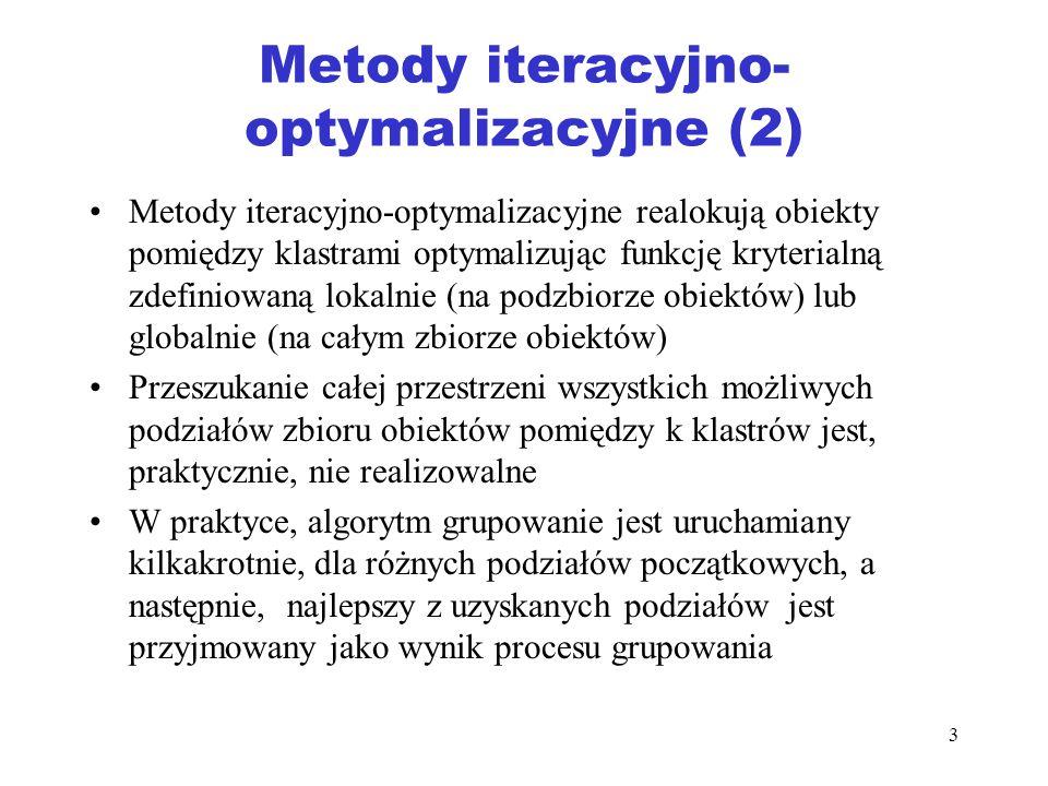 3 Metody iteracyjno- optymalizacyjne (2) Metody iteracyjno-optymalizacyjne realokują obiekty pomiędzy klastrami optymalizując funkcję kryterialną zdef