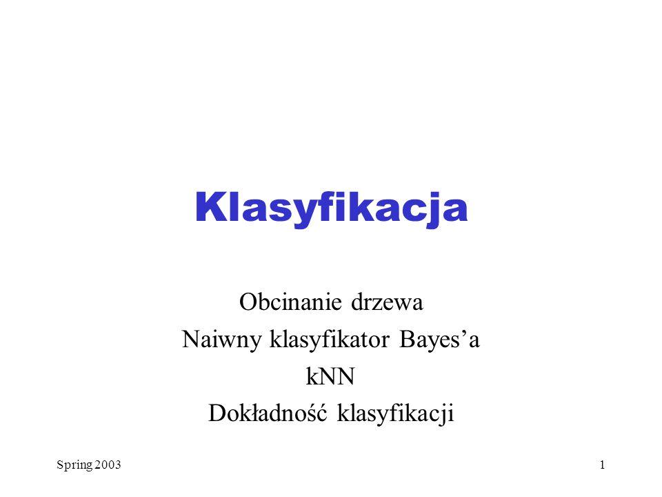 Spring 200332 Walidacja krzyżowa (2) Każda część, po zakończeniu, będzie użyta k-1 razy do konstrukcji drzewa i 1 raz do testowania dokładności klasyfikacji Sumaryczna liczba błędów klasyfikacji dla wszystkich k klasyfikatorów podzielona przez liczność n oryginalnego zbioru przykładów daje kroswalidacyjne oszacowanie dokonania błędnej klasyfikacji przez dany klasyfikator Wybrany zostaje ten klasyfikator, który zapewnia największą dokładność klasyfikacji