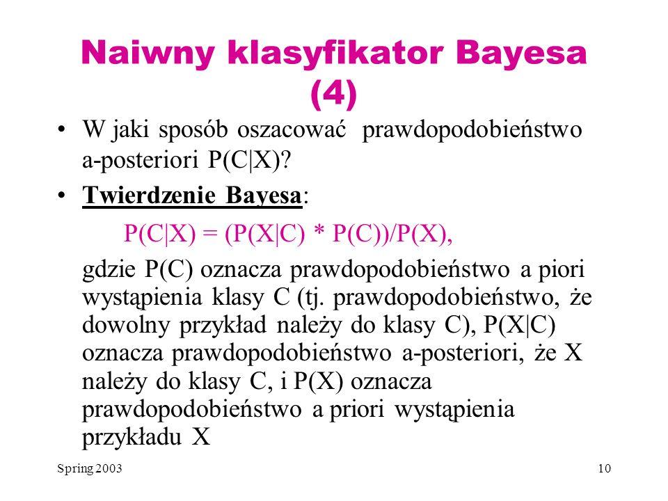 Spring 200310 Naiwny klasyfikator Bayesa (4) W jaki sposób oszacować prawdopodobieństwo a-posteriori P(C|X)? Twierdzenie Bayesa: P(C|X) = (P(X|C) * P(
