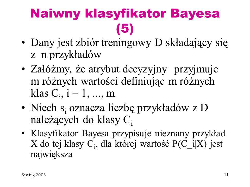 Spring 200311 Naiwny klasyfikator Bayesa (5) Dany jest zbiór treningowy D składający się z n przykładów Załóżmy, że atrybut decyzyjny przyjmuje m różn