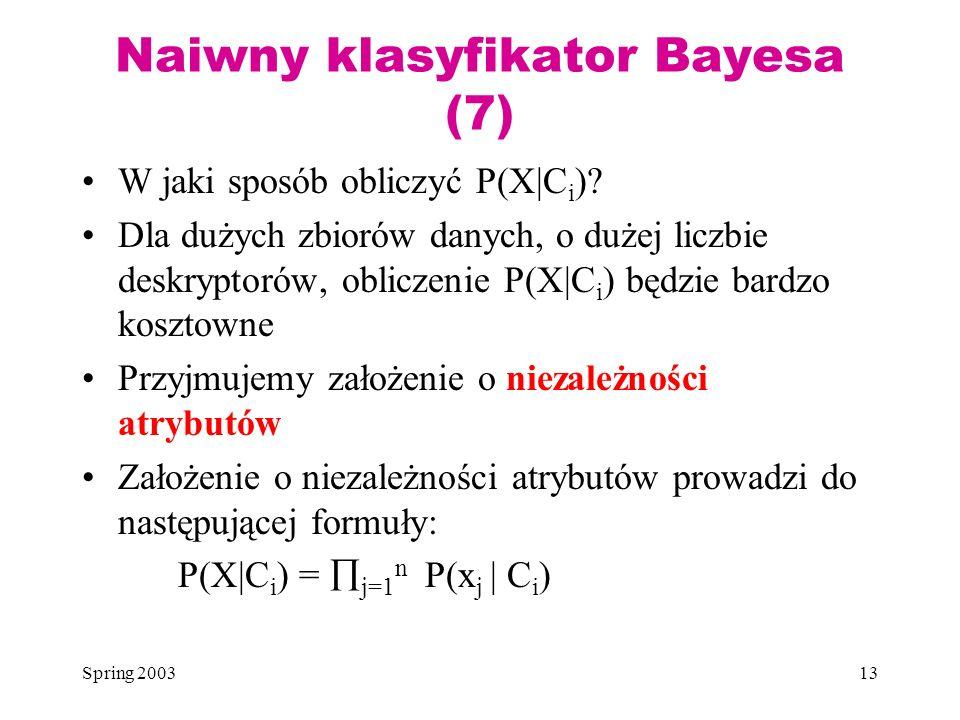 Spring 200313 Naiwny klasyfikator Bayesa (7) W jaki sposób obliczyć P(X|C i )? Dla dużych zbiorów danych, o dużej liczbie deskryptorów, obliczenie P(X