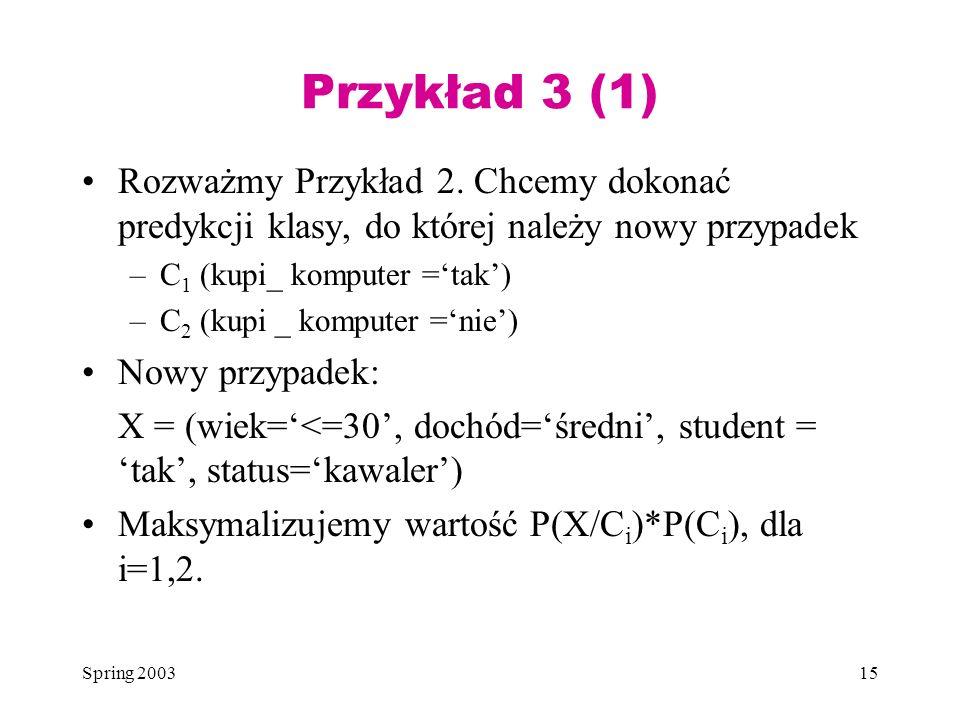 Spring 200315 Przykład 3 (1) Rozważmy Przykład 2. Chcemy dokonać predykcji klasy, do której należy nowy przypadek –C 1 (kupi_ komputer =tak) –C 2 (kup