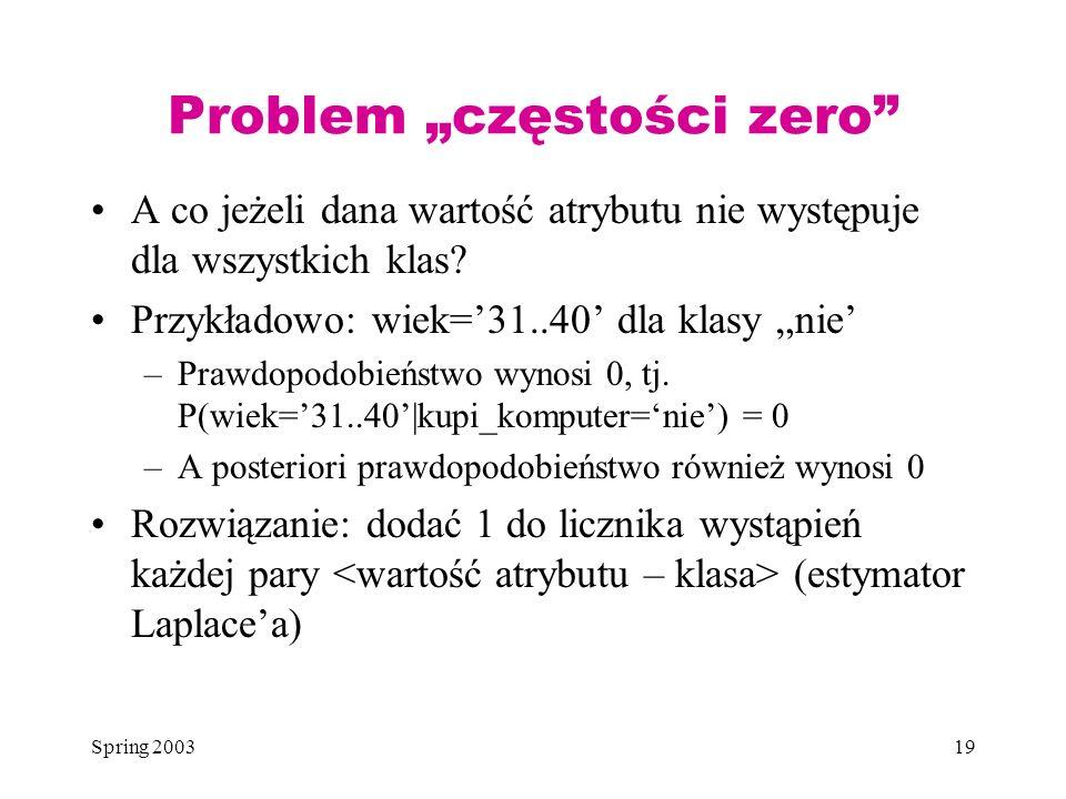 Spring 200319 Problem częstości zero A co jeżeli dana wartość atrybutu nie występuje dla wszystkich klas? Przykładowo: wiek=31..40 dla klasy nie –Praw