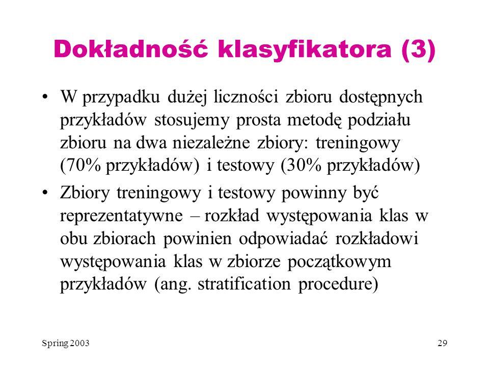 Spring 200329 Dokładność klasyfikatora (3) W przypadku dużej liczności zbioru dostępnych przykładów stosujemy prosta metodę podziału zbioru na dwa nie