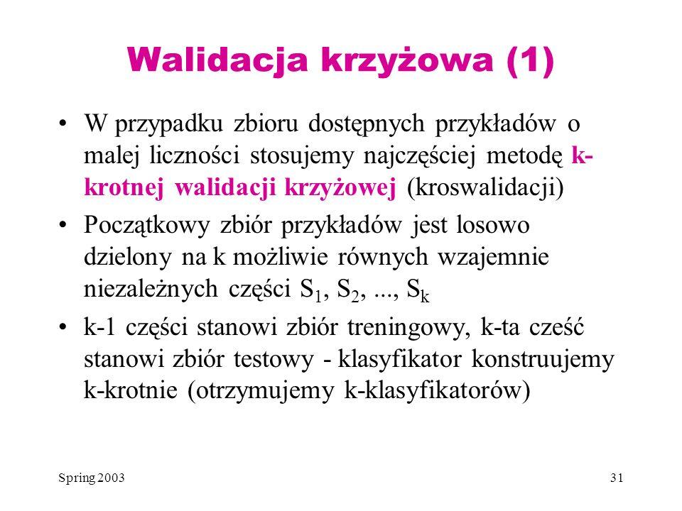 Spring 200331 Walidacja krzyżowa (1) W przypadku zbioru dostępnych przykładów o malej liczności stosujemy najczęściej metodę k- krotnej walidacji krzy