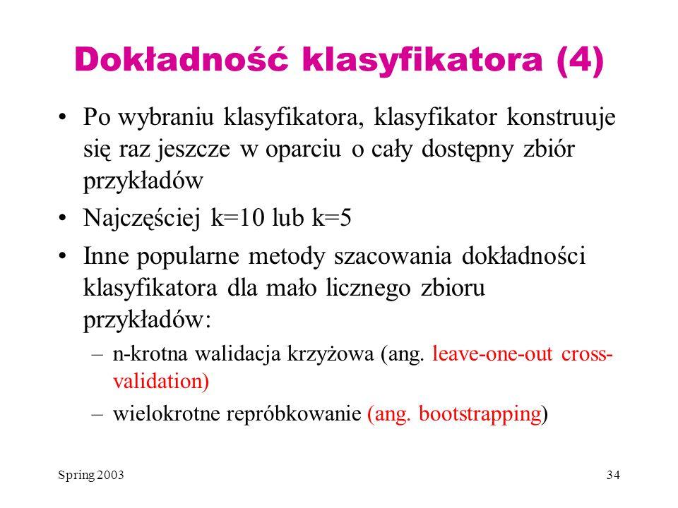 Spring 200334 Dokładność klasyfikatora (4) Po wybraniu klasyfikatora, klasyfikator konstruuje się raz jeszcze w oparciu o cały dostępny zbiór przykład