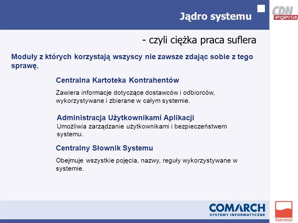Jądro systemu - czyli ciężka praca suflera Centralna Kartoteka Kontrahentów Zawiera informacje dotyczące dostawców i odbiorców, wykorzystywane i zbierane w całym systemie.