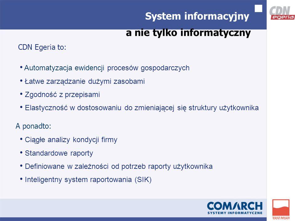 System informacyjny CDN Egeria to: a nie tylko informatyczny Ciągłe analizy kondycji firmy Standardowe raporty Definiowane w zależności od potrzeb raporty użytkownika Inteligentny system raportowania (SIK) Automatyzacja ewidencji procesów gospodarczych Łatwe zarządzanie dużymi zasobami Zgodność z przepisami Elastyczność w dostosowaniu do zmieniającej się struktury użytkownika A ponadto: