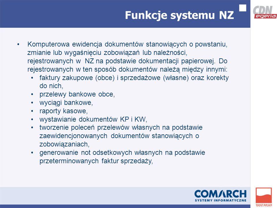 Funkcje systemu NZ Komputerowa ewidencja dokumentów stanowiących o powstaniu, zmianie lub wygaśnięciu zobowiązań lub należności, rejestrowanych w NZ na podstawie dokumentacji papierowej.