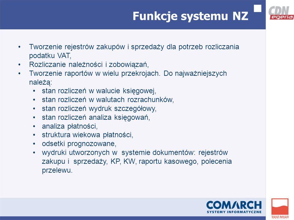 Funkcje systemu NZ Tworzenie rejestrów zakupów i sprzedaży dla potrzeb rozliczania podatku VAT, Rozliczanie należności i zobowiązań, Tworzenie raportów w wielu przekrojach.