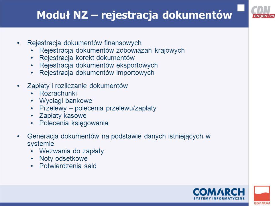 Moduł NZ – rejestracja dokumentów Rejestracja dokumentów finansowych Rejestracja dokumentów zobowiązań krajowych Rejestracja korekt dokumentów Rejestracja dokumentów eksportowych Rejestracja dokumentów importowych Zapłaty i rozliczanie dokumentów Rozrachunki Wyciągi bankowe Przelewy – polecenia przelewu/zapłaty Zapłaty kasowe Polecenia księgowania Generacja dokumentów na podstawie danych istniejących w systemie Wezwania do zapłaty Noty odsetkowe Potwierdzenia sald