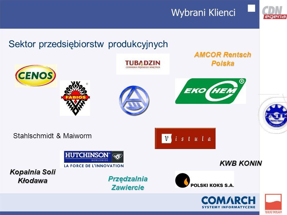 Wybrani Klienci Sektor przedsiębiorstw produkcyjnych Stahlschmidt & Maiworm AMCOR Rentsch Polska KWB KONIN Kopalnia Soli Kłodawa Przędzalnia Zawiercie