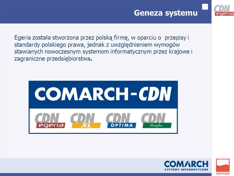 Geneza systemu Egeria została stworzona przez polską firmę, w oparciu o przepisy i standardy polskiego prawa, jednak z uwzględnieniem wymogów stawianych nowoczesnym systemom informatycznym przez krajowe i zagraniczne przedsiębiorstwa.