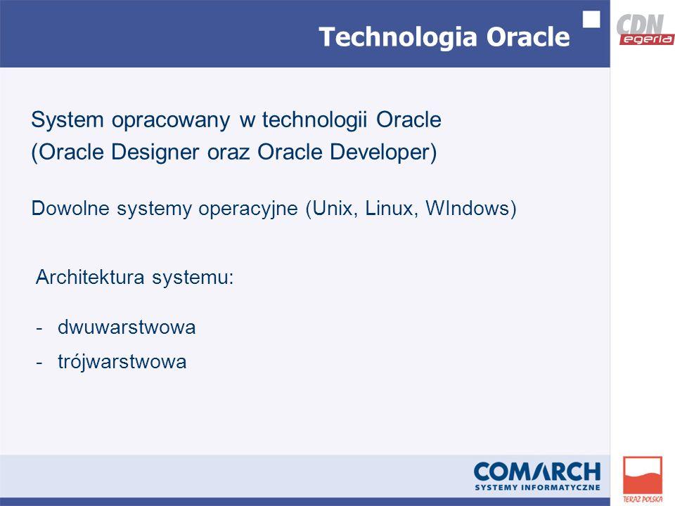 System opracowany w technologii Oracle (Oracle Designer oraz Oracle Developer) Dowolne systemy operacyjne (Unix, Linux, WIndows) Architektura systemu: -dwuwarstwowa -trójwarstwowa Technologia Oracle