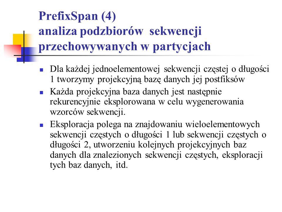 PrefixSpan (4) analiza podzbiorów sekwencji przechowywanych w partycjach Dla każdej jednoelementowej sekwencji częstej o długości 1 tworzymy projekcyj