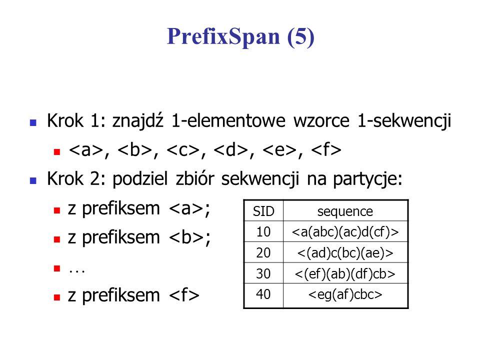 PrefixSpan (5) Krok 1: znajdź 1-elementowe wzorce 1-sekwencji,,,,, Krok 2: podziel zbiór sekwencji na partycje: z prefiksem ; … z prefiksem SIDsequenc