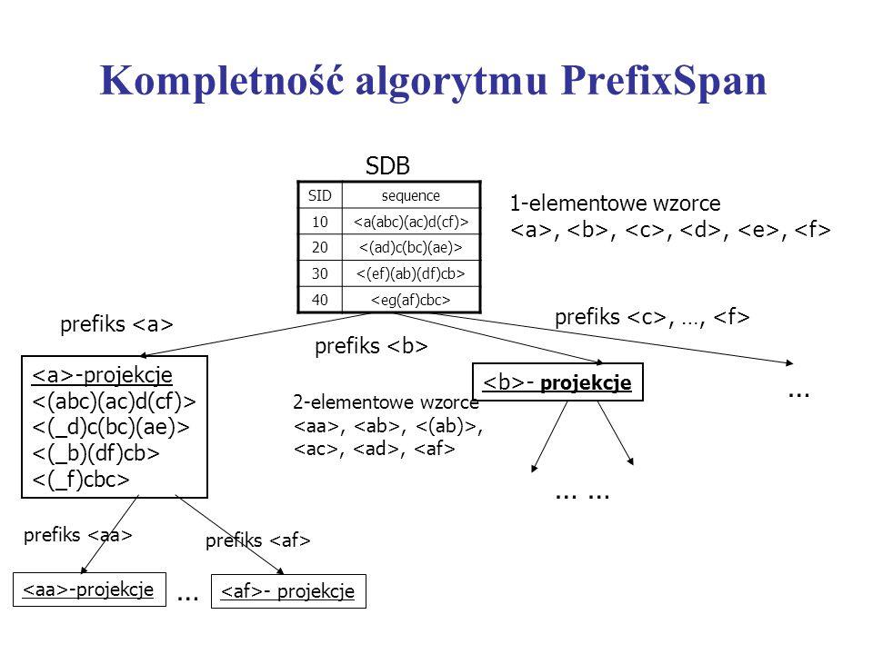 Kompletność algorytmu PrefixSpan SIDsequence 10 20 30 40 SDB 1-elementowe wzorce,,,,, -projekcje 2-elementowe wzorce,,,,, prefiks -projekcje … prefiks
