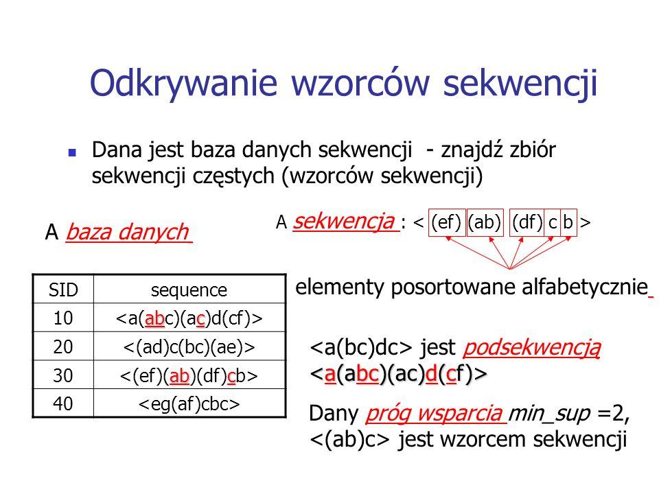 PrefixSpan (7) -projekcja Podczas jednokrotnego odczytu a-projekcyjnej bazy danych znajdowane są wszystkie sekwencje częste o rozmiarze 2 i o długości 2, posiadające prefiks a, lub sekwencje częste o długości 1 i rozmiarze większym od 1, dla których element a należy do pierwszego wyrazu sekwencji częstej:,,,,....