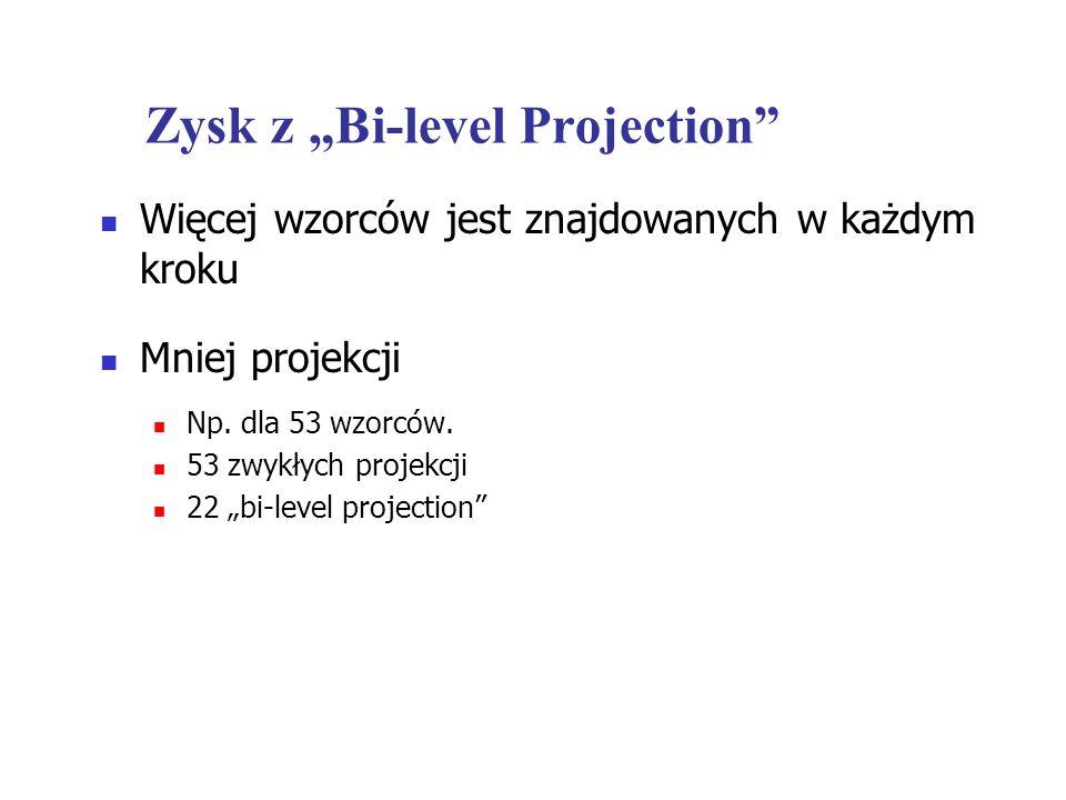Zysk z Bi-level Projection Więcej wzorców jest znajdowanych w każdym kroku Mniej projekcji Np. dla 53 wzorców. 53 zwykłych projekcji 22 bi-level proje