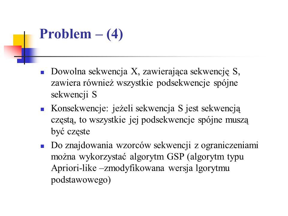 Problem – (4) Dowolna sekwencja X, zawierająca sekwencję S, zawiera również wszystkie podsekwencje spójne sekwencji S Konsekwencje: jeżeli sekwencja S