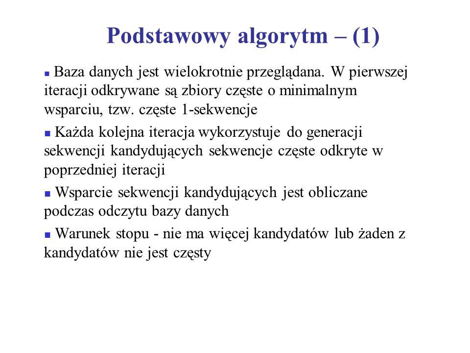 Podstawowy algorytm – (2) … … … … 1 st scan: 8 kand.