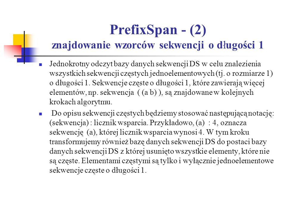 PrefixSpan - (2) znajdowanie wzorców sekwencji o długości 1 Jednokrotny odczyt bazy danych sekwencji DS w celu znalezienia wszystkich sekwencji częsty
