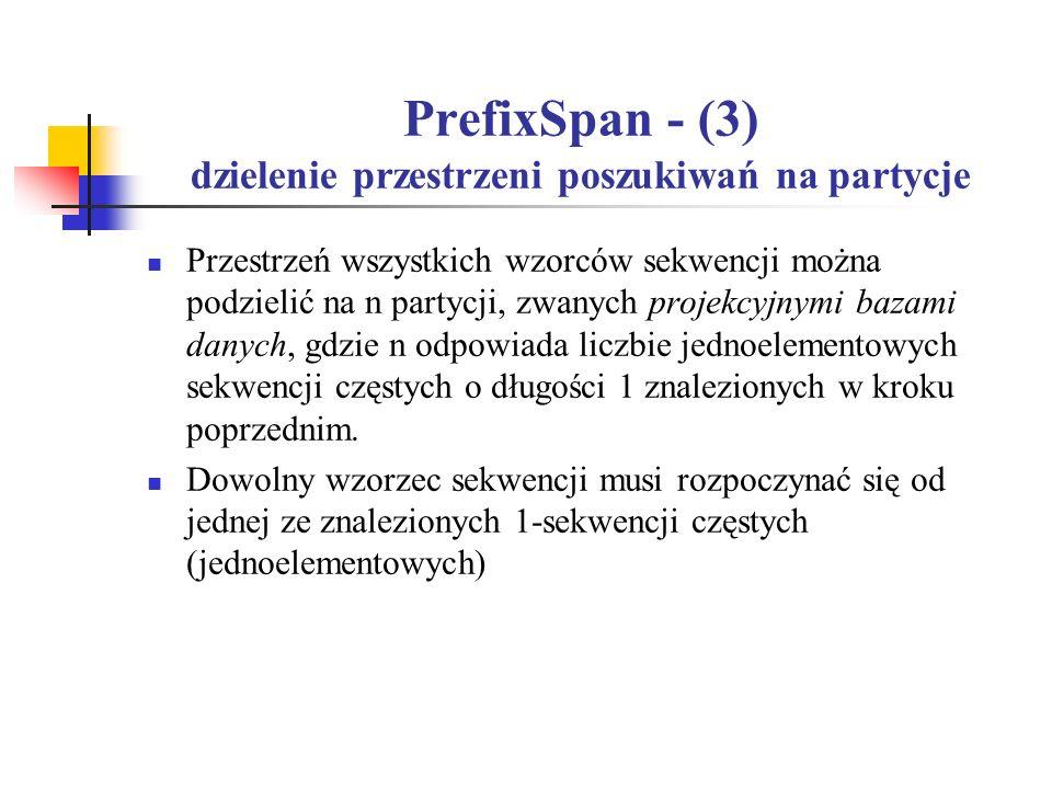 PrefixSpan - (3) dzielenie przestrzeni poszukiwań na partycje Przestrzeń wszystkich wzorców sekwencji można podzielić na n partycji, zwanych projekcyj