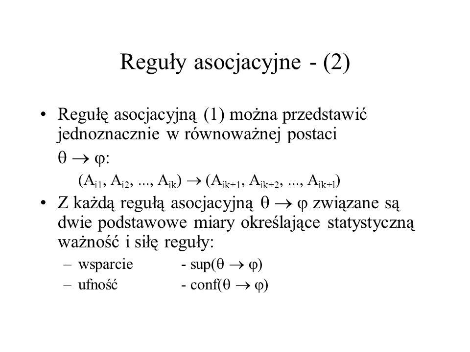 Reguły asocjacyjne - (2) Regułę asocjacyjną (1) można przedstawić jednoznacznie w równoważnej postaci : (A i1, A i2,..., A ik ) (A ik+1, A ik+2,..., A