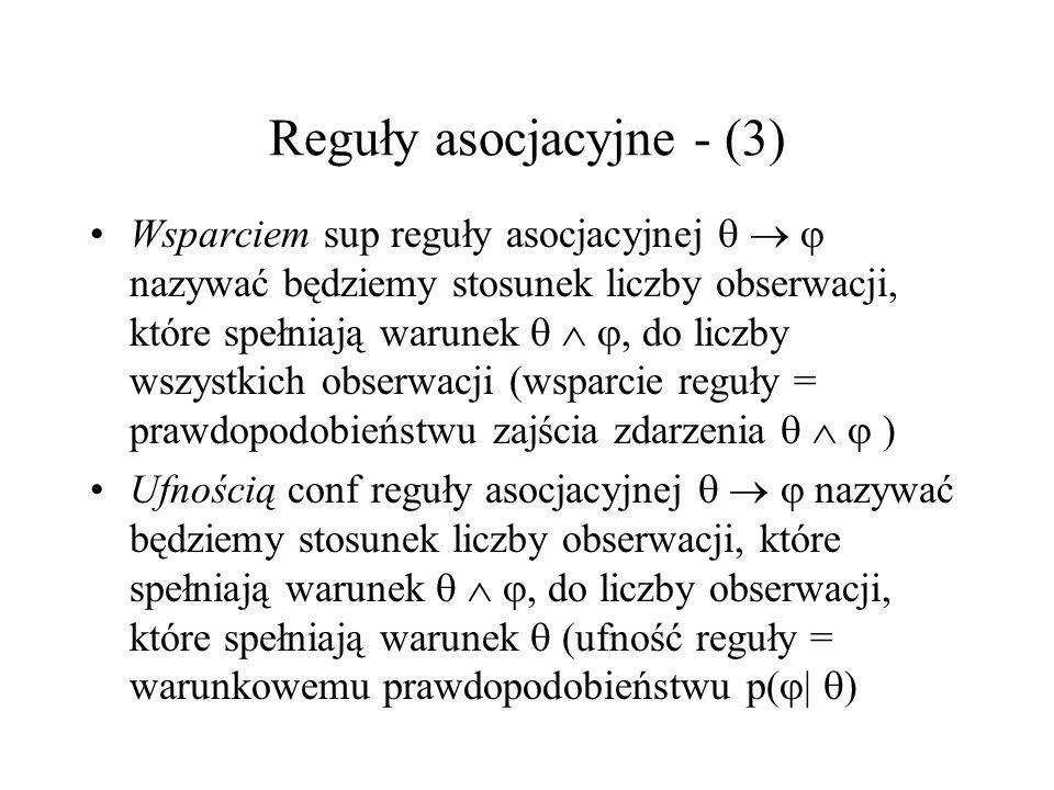 Reguły asocjacyjne - (3) Wsparciem sup reguły asocjacyjnej nazywać będziemy stosunek liczby obserwacji, które spełniają warunek, do liczby wszystkich
