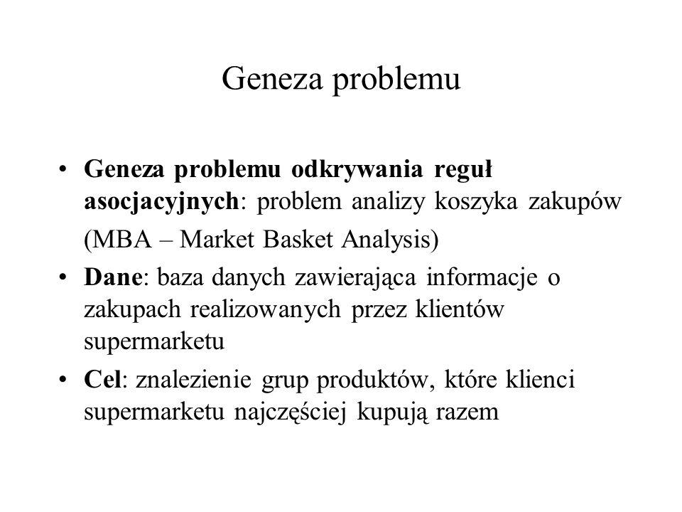 Geneza problemu Geneza problemu odkrywania reguł asocjacyjnych: problem analizy koszyka zakupów (MBA – Market Basket Analysis) Dane: baza danych zawie