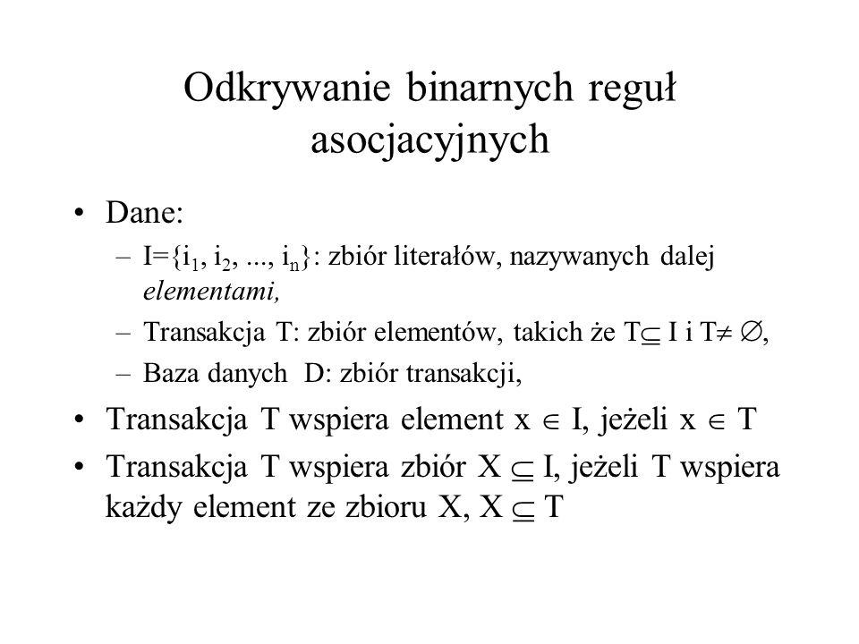 Odkrywanie binarnych reguł asocjacyjnych Dane: –I={i 1, i 2,..., i n }: zbiór literałów, nazywanych dalej elementami, –Transakcja T: zbiór elementów,