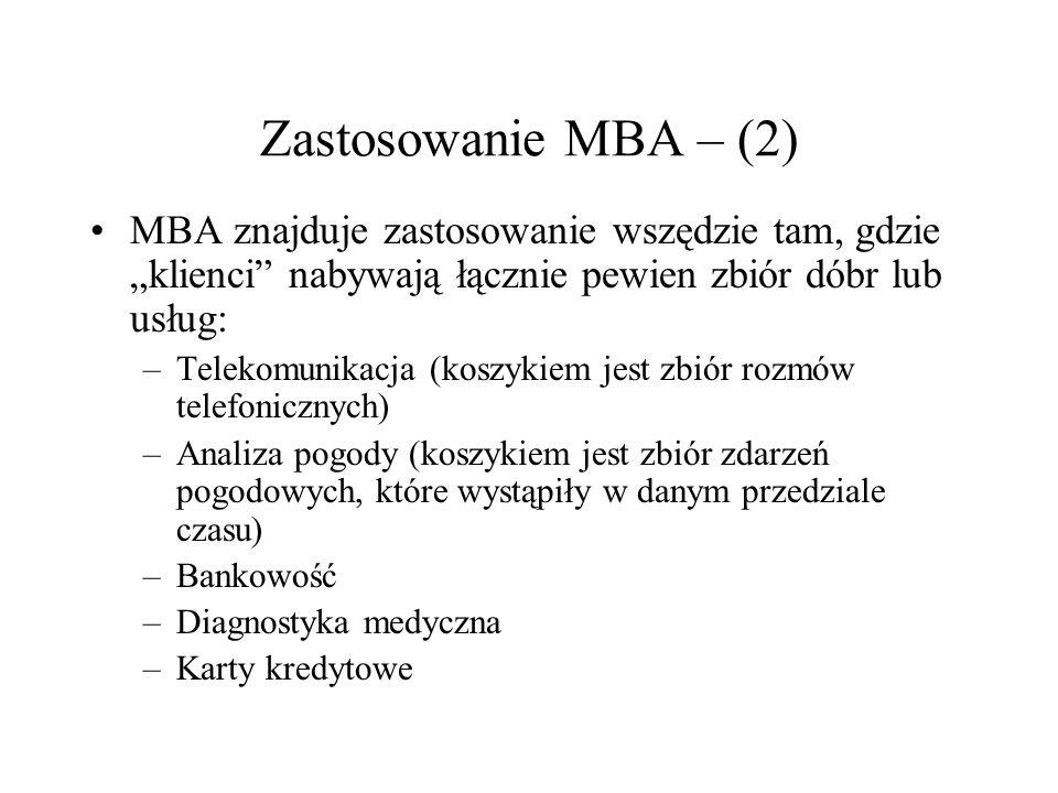 Zastosowanie MBA – (2) MBA znajduje zastosowanie wszędzie tam, gdzie klienci nabywają łącznie pewien zbiór dóbr lub usług: –Telekomunikacja (koszykiem