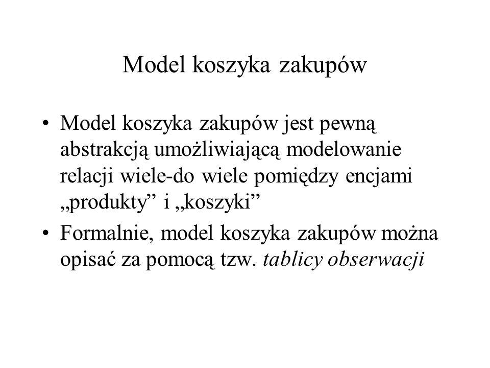 Model koszyka zakupów Model koszyka zakupów jest pewną abstrakcją umożliwiającą modelowanie relacji wiele-do wiele pomiędzy encjami produkty i koszyki