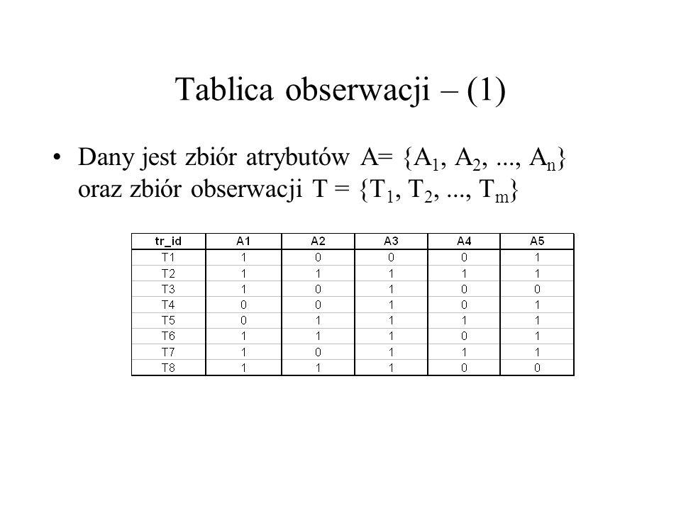 Tablica obserwacji – (1) Dany jest zbiór atrybutów A= {A 1, A 2,..., A n } oraz zbiór obserwacji T = {T 1, T 2,..., T m }