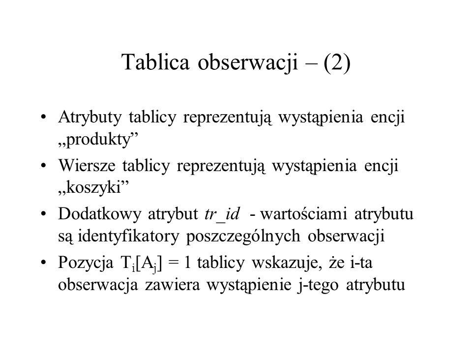 Tablica obserwacji – (2) Atrybuty tablicy reprezentują wystąpienia encji produkty Wiersze tablicy reprezentują wystąpienia encji koszyki Dodatkowy atr