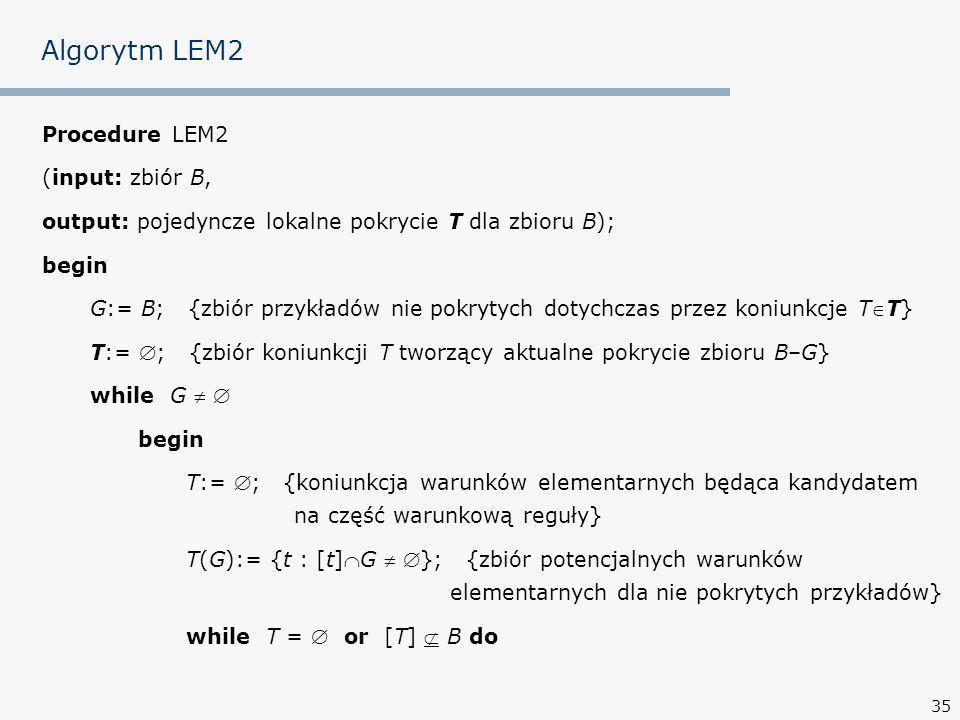 35 Algorytm LEM2 Procedure LEM2 (input: zbiór B, output: pojedyncze lokalne pokrycie T dla zbioru B); begin G:= B; {zbiór przykładów nie pokrytych dotychczas przez koniunkcje TT} T:= ; {zbiór koniunkcji T tworzący aktualne pokrycie zbioru B–G} while G begin T:= ; {koniunkcja warunków elementarnych będąca kandydatem na część warunkową reguły} T(G):= {t : [t]G }; {zbiór potencjalnych warunków elementarnych dla nie pokrytych przykładów} while T = or [T] B do