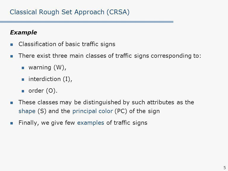 5 Classical Rough Set Approach (CRSA) Example Classification of basic traffic signs There exist three main classes of traffic signs corresponding to: warning (W), interdiction (I), order (O).