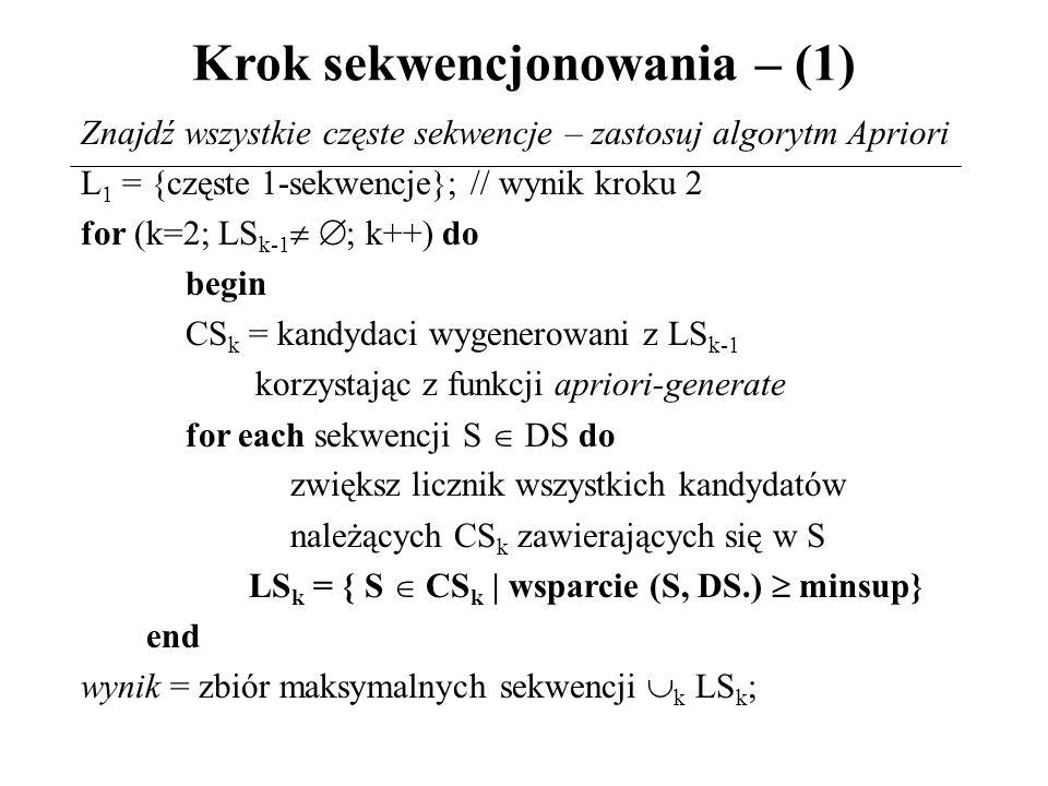 Krok sekwencjonowania – (1) Znajdź wszystkie częste sekwencje – zastosuj algorytm Apriori L 1 = {częste 1-sekwencje}; // wynik kroku 2 for (k=2; LS k-