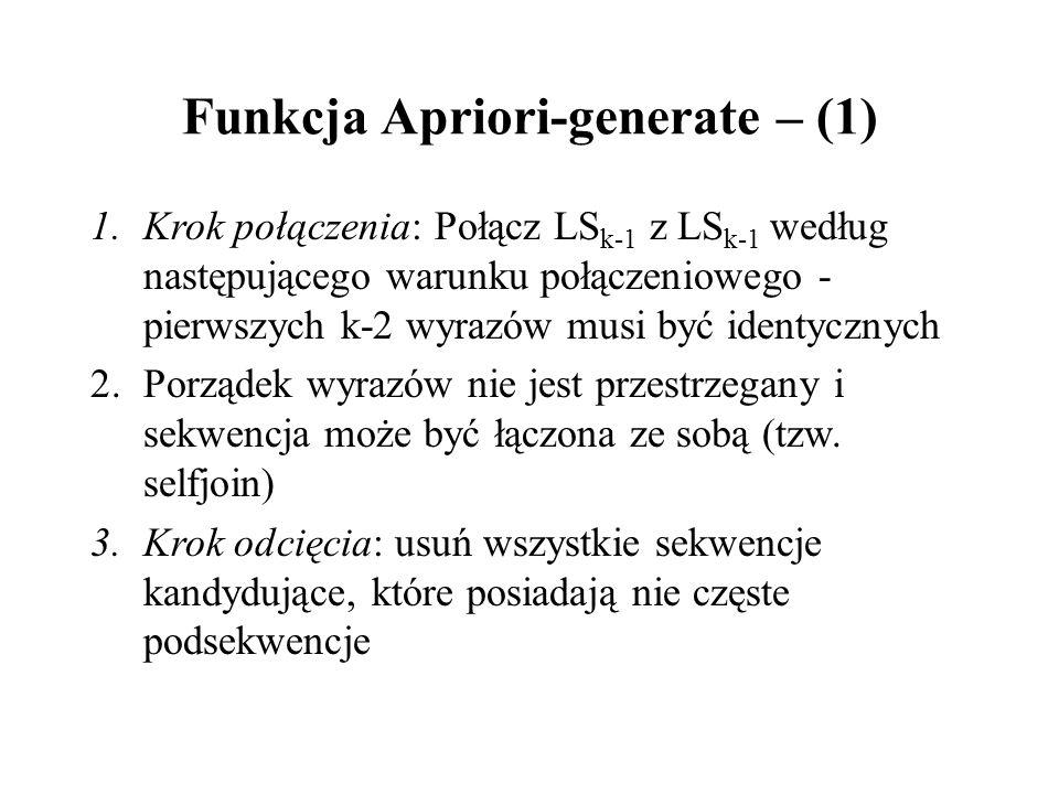 Funkcja Apriori-generate – (1) 1.Krok połączenia: Połącz LS k-1 z LS k-1 według następującego warunku połączeniowego - pierwszych k-2 wyrazów musi być