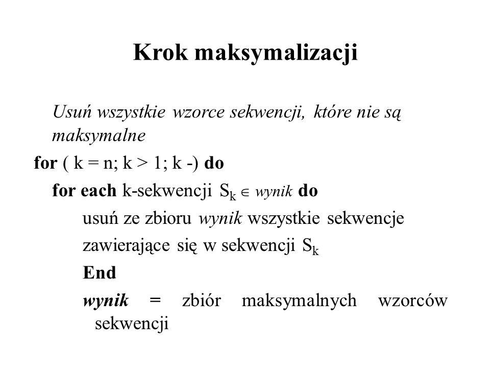 Krok maksymalizacji Usuń wszystkie wzorce sekwencji, które nie są maksymalne for ( k = n; k > 1; k -) do for each k-sekwencji S k wynik do usuń ze zbi