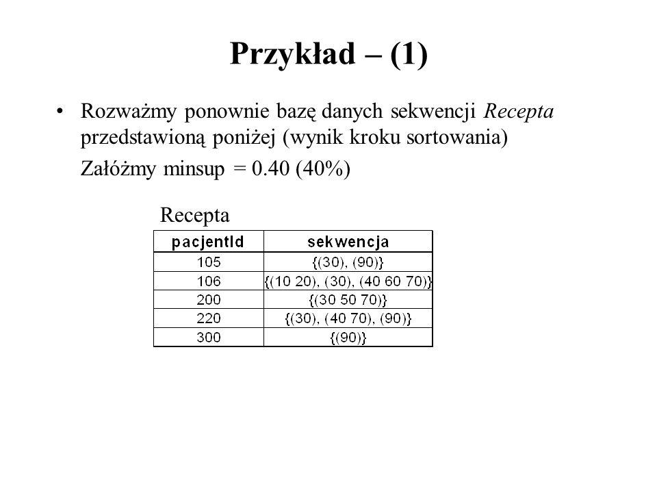 Przykład – (1) Rozważmy ponownie bazę danych sekwencji Recepta przedstawioną poniżej (wynik kroku sortowania) Załóżmy minsup = 0.40 (40%) Recepta