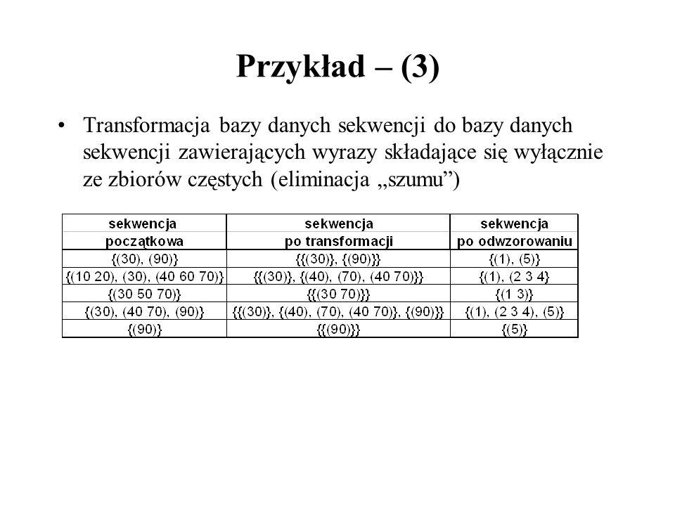 Przykład – (3) Transformacja bazy danych sekwencji do bazy danych sekwencji zawierających wyrazy składające się wyłącznie ze zbiorów częstych (elimina