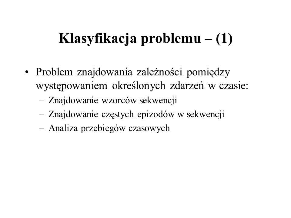 Klasyfikacja problemu – (1) Problem znajdowania zależności pomiędzy występowaniem określonych zdarzeń w czasie: –Znajdowanie wzorców sekwencji –Znajdo