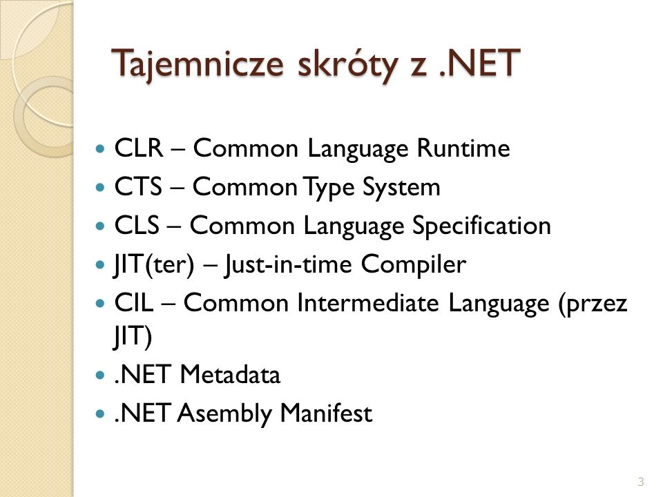 CLR – Common Language Runtime CTS – Common Type System CLS – Common Language Specification JIT(ter) – Just-in-time Compiler CIL – Common Intermediate