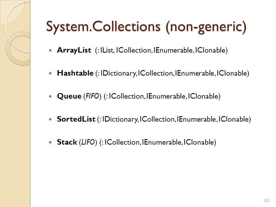 System.Collections (non-generic) ArrayList (: IList, ICollection, IEnumerable, IClonable) Hashtable (: IDictionary, ICollection, IEnumerable, IClonabl