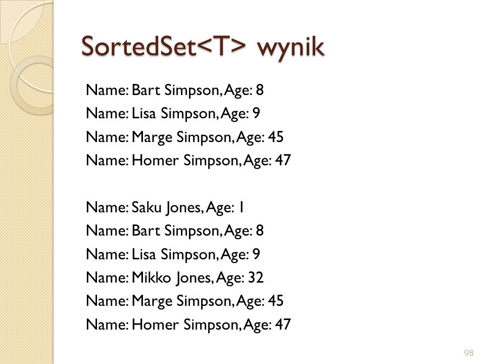 SortedSet wynik Name: Bart Simpson, Age: 8 Name: Lisa Simpson, Age: 9 Name: Marge Simpson, Age: 45 Name: Homer Simpson, Age: 47 Name: Saku Jones, Age: