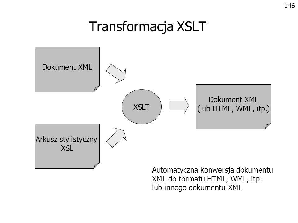 147 Cennik akcesoriów - PLN Przykład transformacji XSLT <?xml version= 1.0 encoding= windows-1250 ?> Antena dachowa 1709765 85 Radioodtwarzacz CAR 2001 3209765 525 Zestaw głośnomówiący LOUD 2 4409724 330 produkty.xmlprodukty.xsl Efekt transformacji do HTML wykonanej po stronie przeglądarki Wyrażenia XPath wybierające przetwarzane elementy